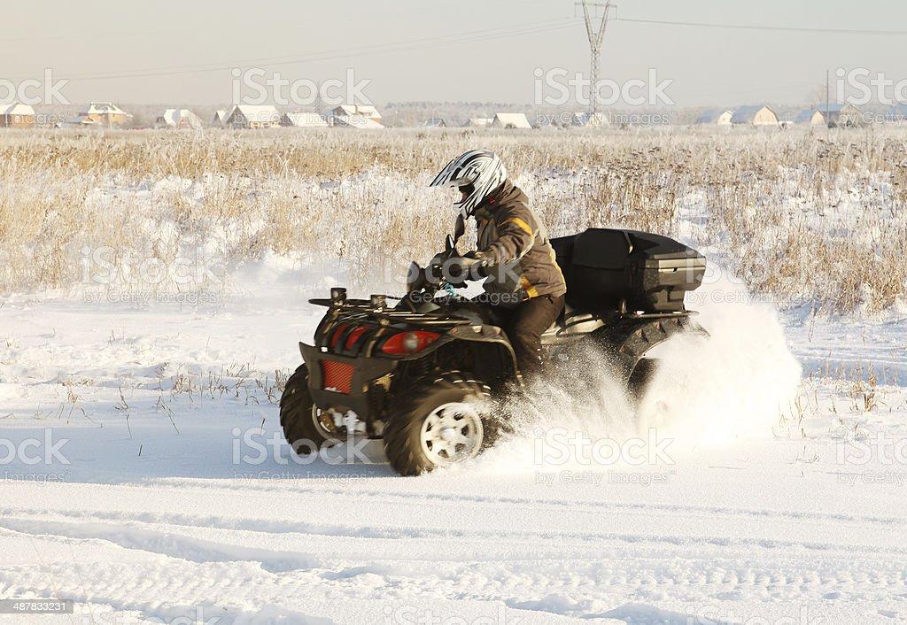 terrain vehicle in motion stock photo