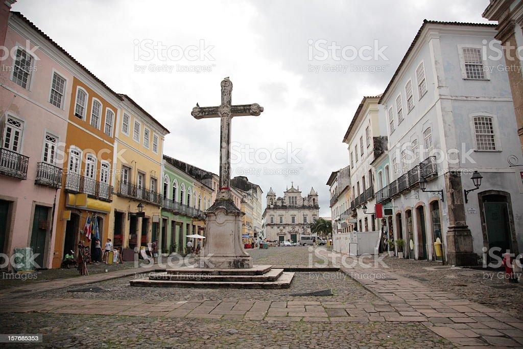 Terreiro de Jesus square and Pelourinho, Salvador, Bahia, Brazil. stock photo