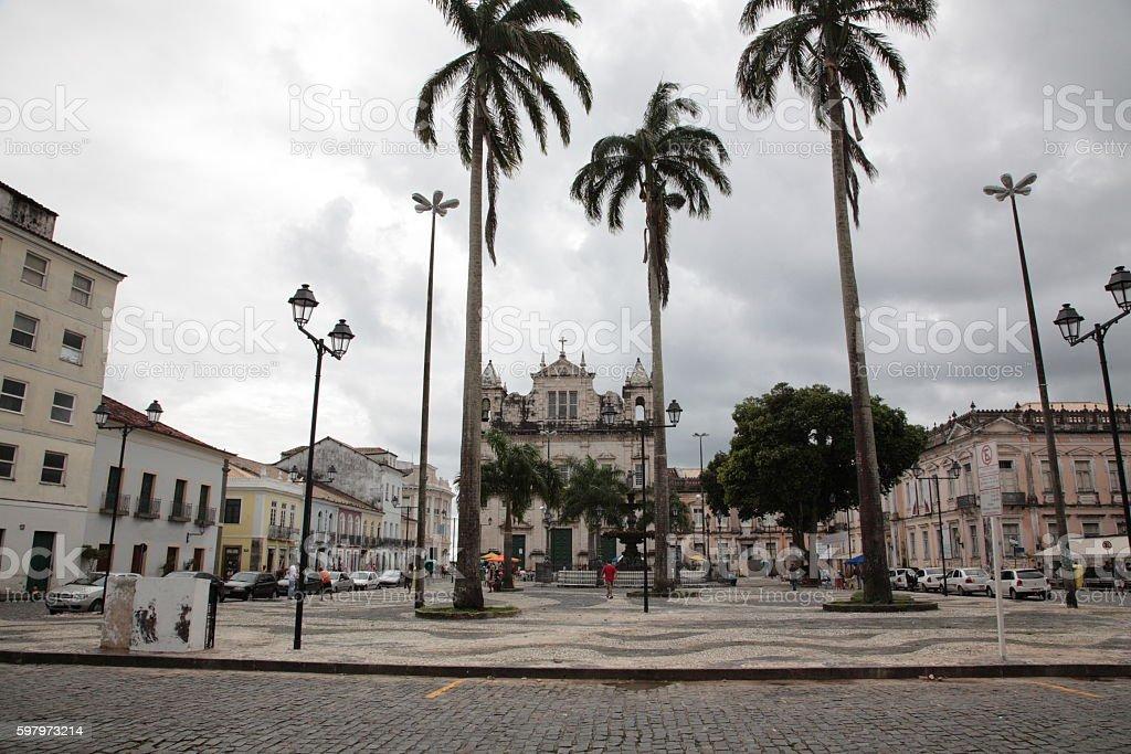 Terreiro de Jesus square in Pelourinho, Salvador, Bahia, Brazil. stock photo