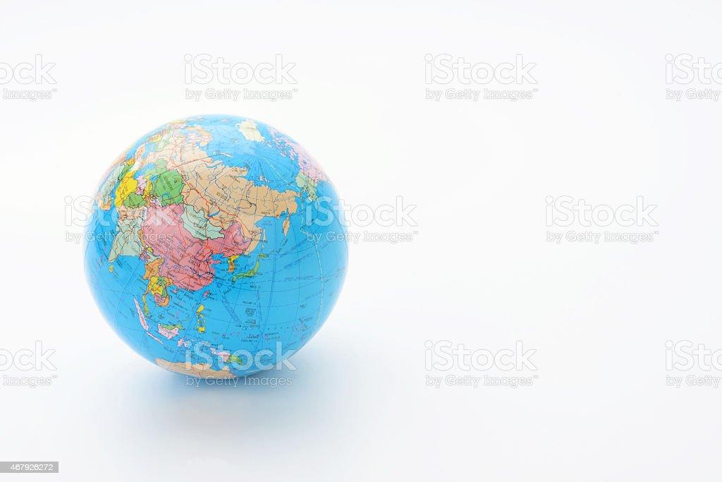 Terrestrial globe on white background stock photo