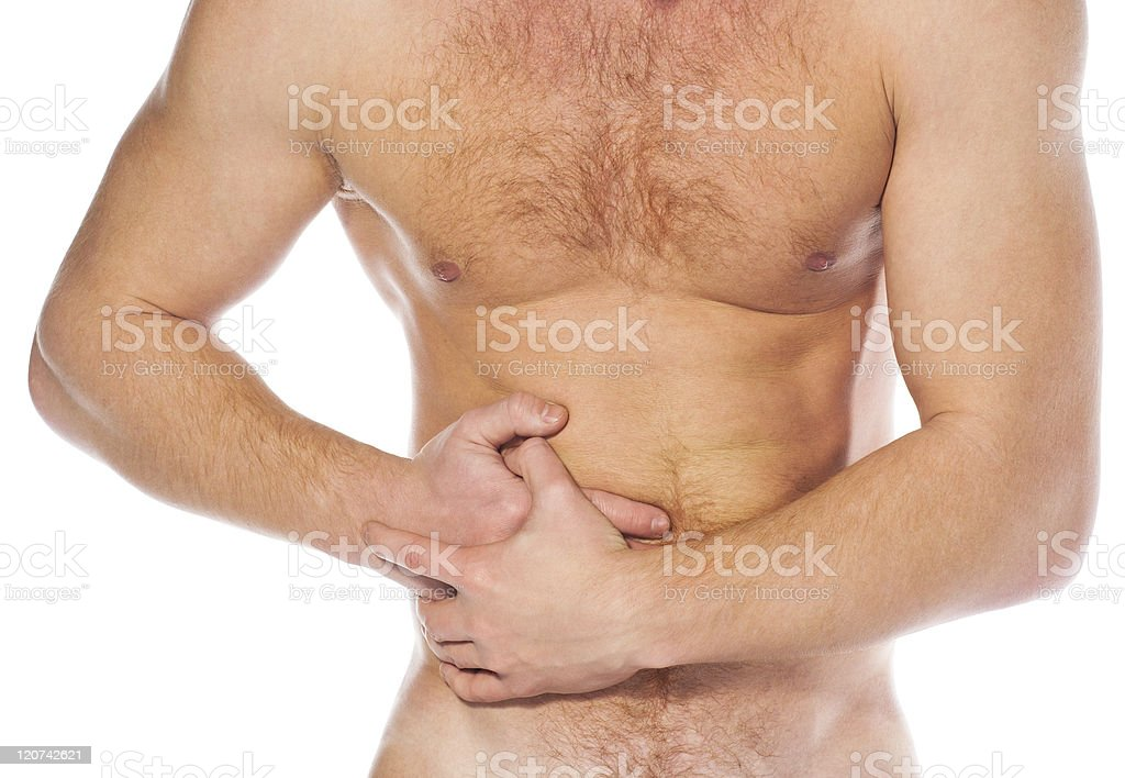 Terrible belly-aches at the young man royalty-free stock photo