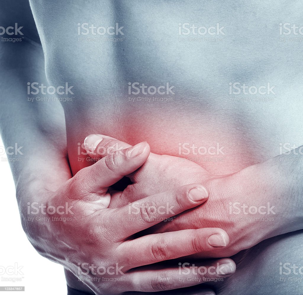 Terrible belly-aches at the young women royalty-free stock photo