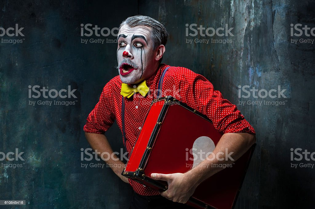 Terrible crazy clown and Halloween theme stock photo