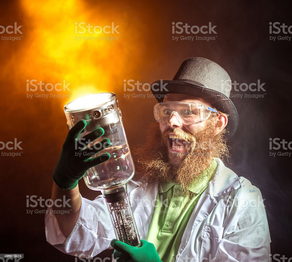 Terrible Evil Scientist stock photo