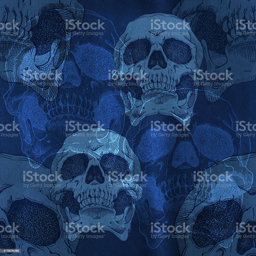 Terrible frightening seamless pattern with skull stock photo