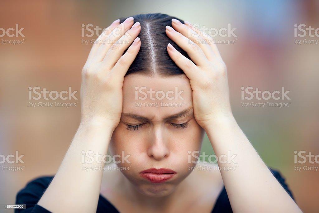 terrible headache today stock photo