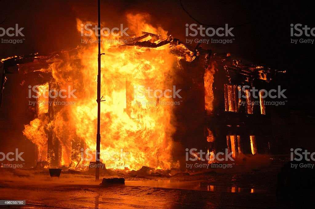 terrible house fire stock photo