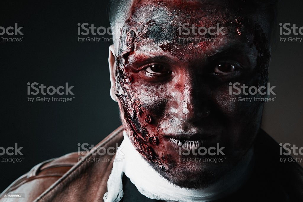 Terrible make-up on a Halloween stock photo
