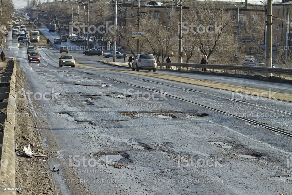 Terrible pavement or the lifting bridge stock photo