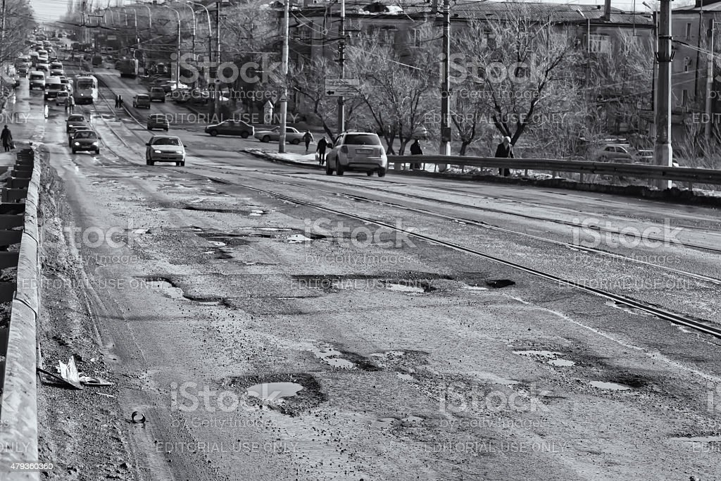 Terrible pavement or the lifting bridge stock photo