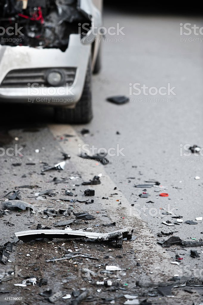 Terrible scene of the aftermath of a car crash stock photo