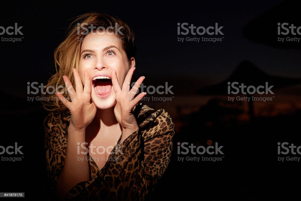 terrified and scared woman screaming stock photo