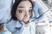 Terrified female patient