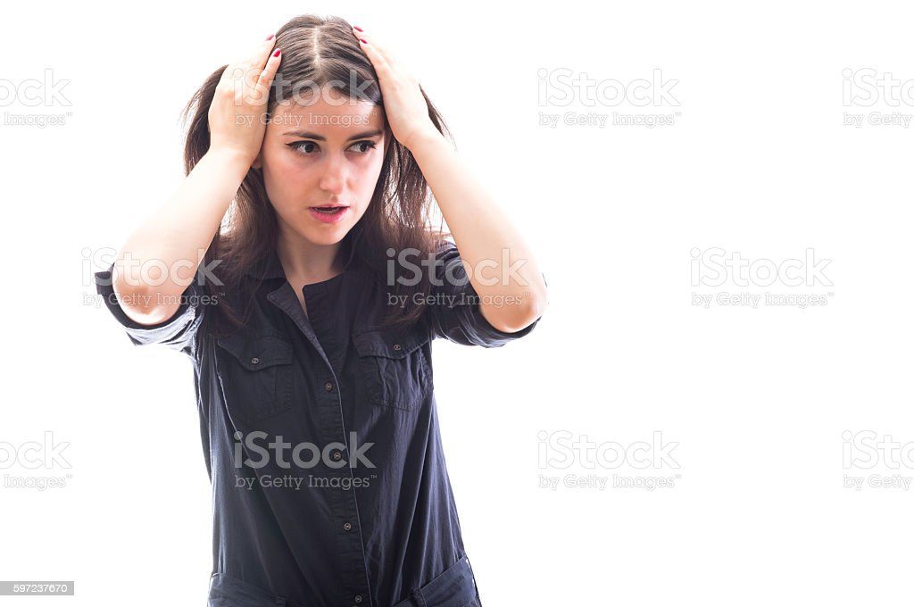 Terrified girl stock photo