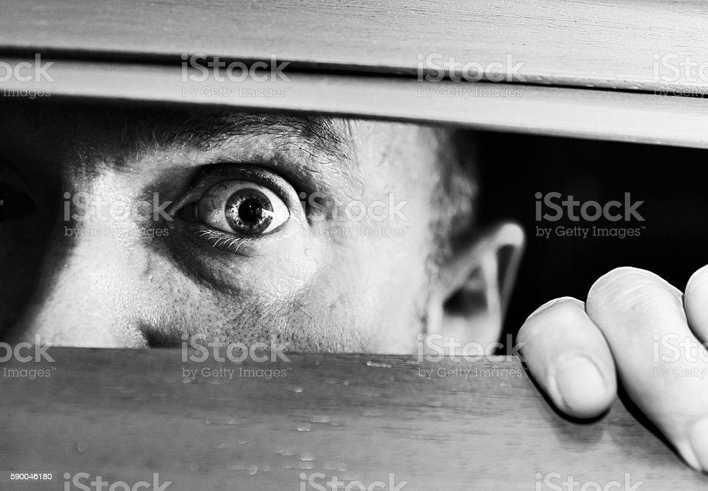 Terrified mature man peeping wide-eyed through venetian blind slats stock photo