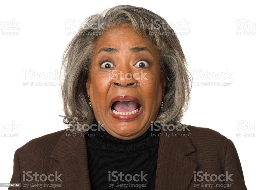 Terrified Mature Woman Gasping royalty-free stock photo