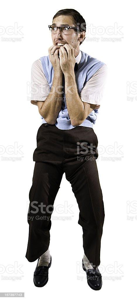 Terrified Nerd Guy Isolated on White stock photo