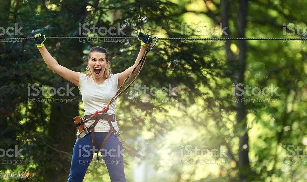 terrified of adventure stock photo