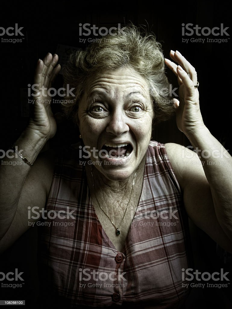 terrified old lady royalty-free stock photo