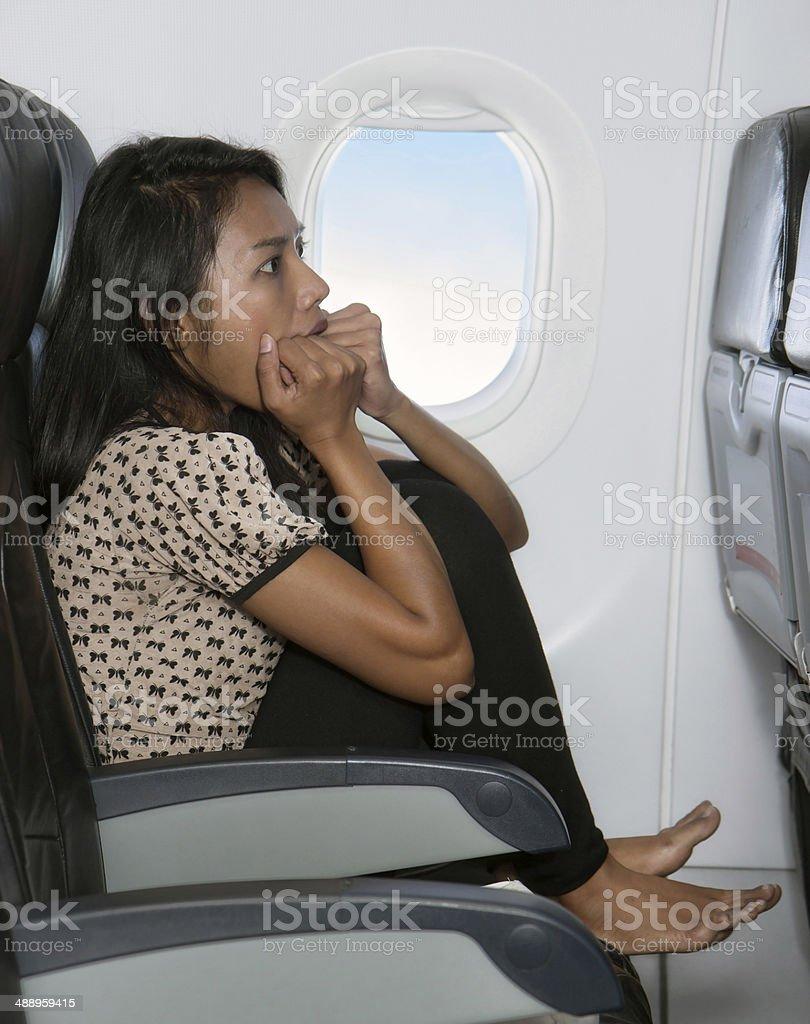 terrified passenger stock photo