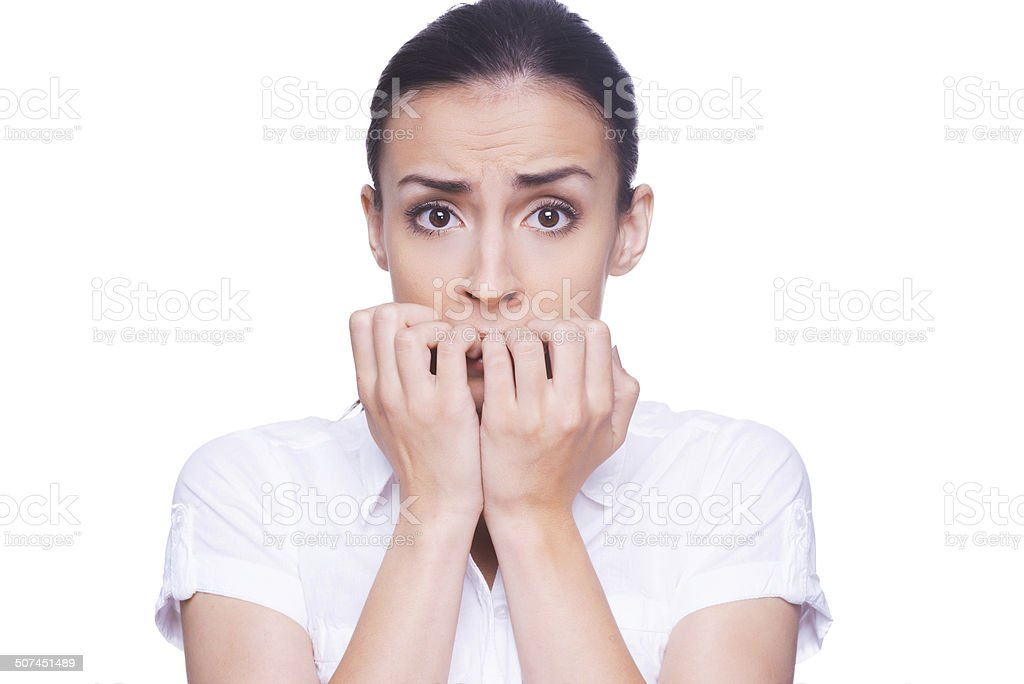 Terrified woman. stock photo