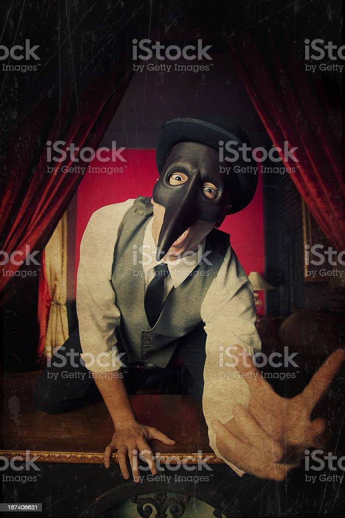 Terrifying Masked Man stock photo