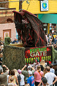 Terrifying Monster Rises Up On Float At Halloween Parade