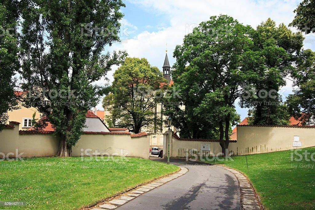 Territory of Strahov Monastery in Prague. stock photo
