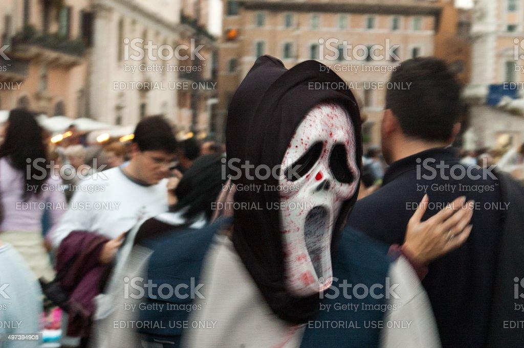 Terror mask in Rome, Italy stock photo