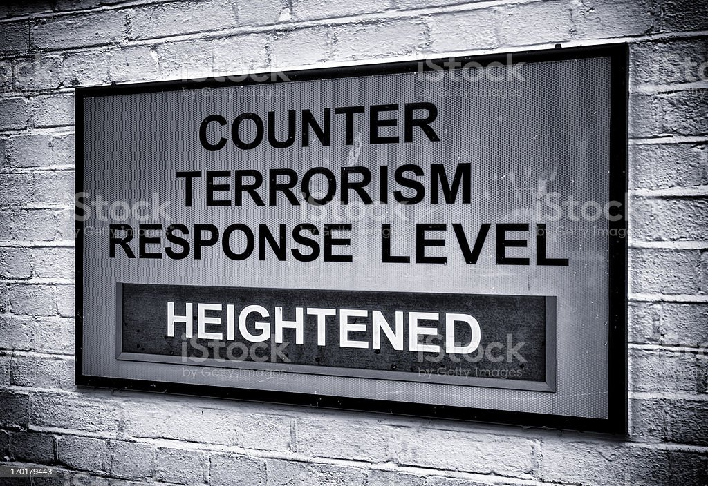 Terrorism warning sign stock photo