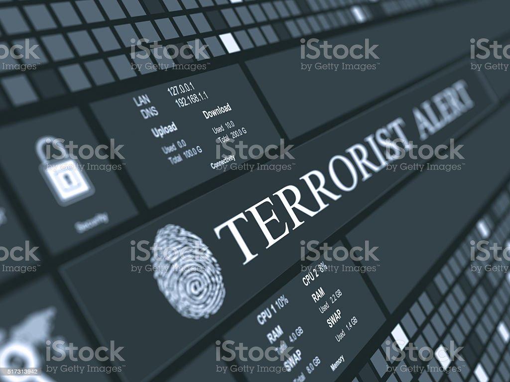 Terrorist alert concept stock photo