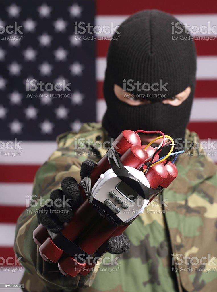 Terrorist in America Vertical royalty-free stock photo