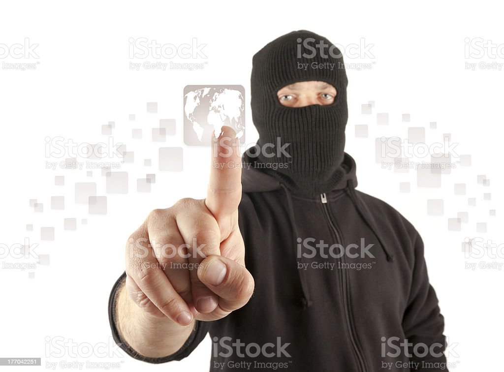 Terrorist pushing the virtual button stock photo