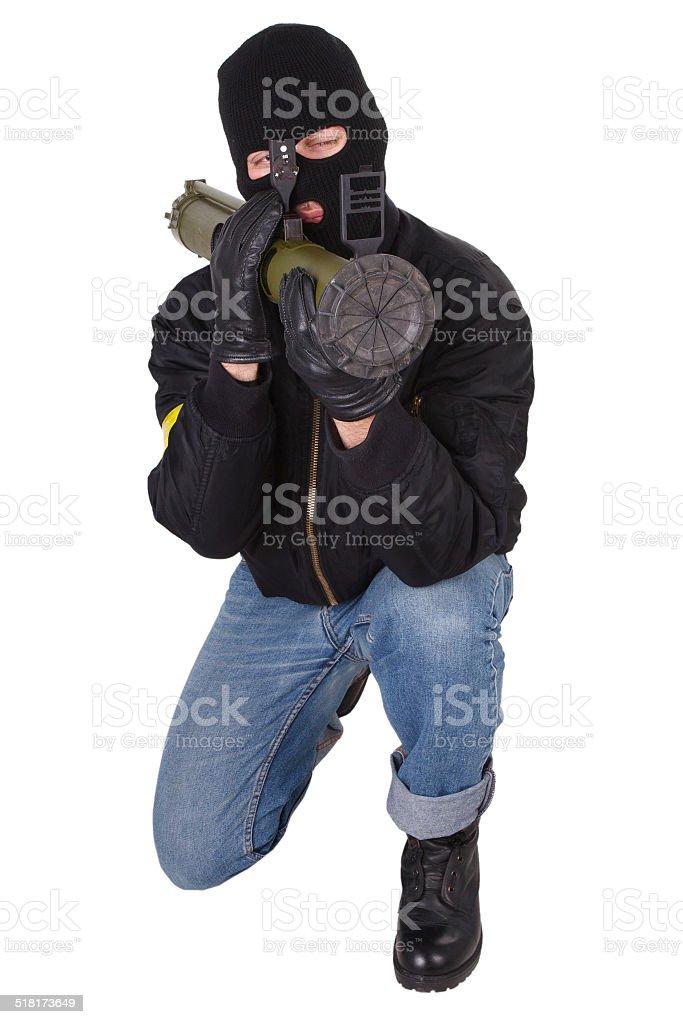 terrorist with bazooka grenade launcher stock photo
