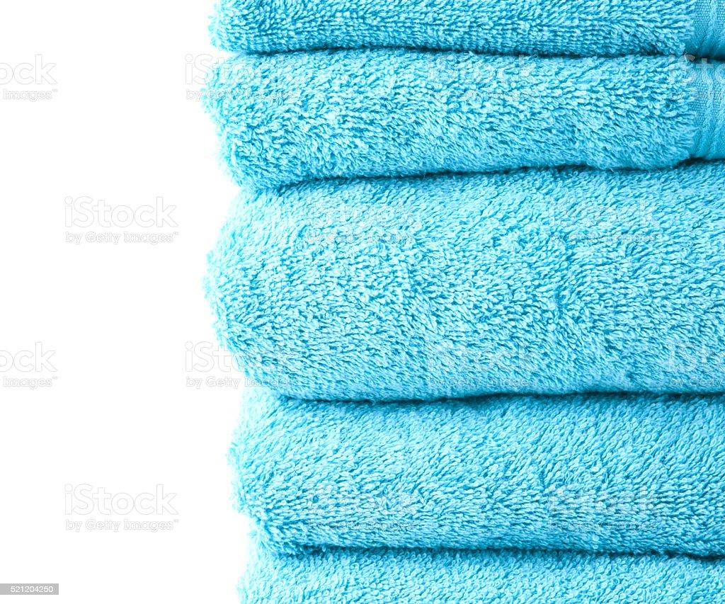 Terry cloth bath towel composition stock photo