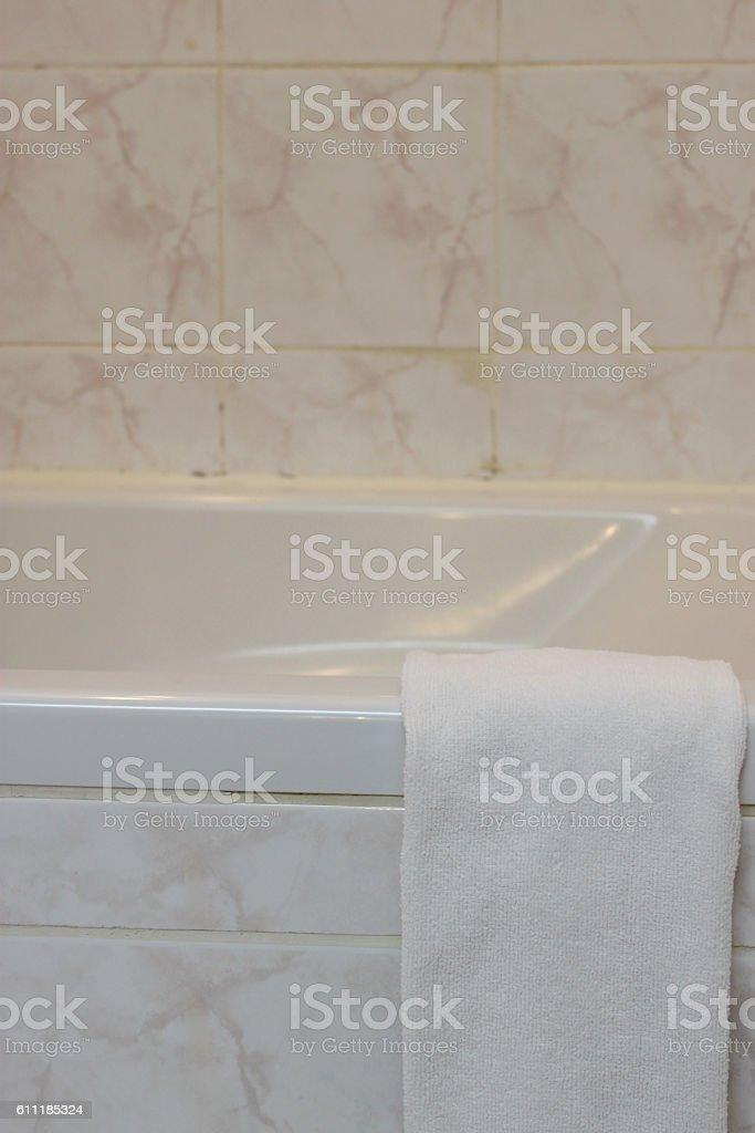 terry cloth in bathroom stock photo