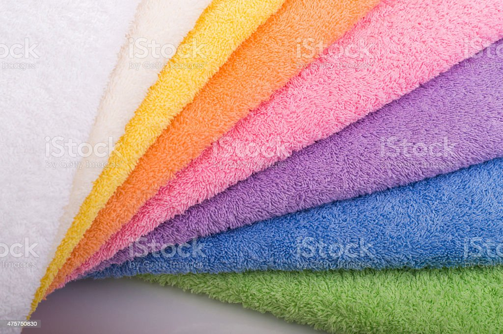 Terry towels spiral in focus stock photo