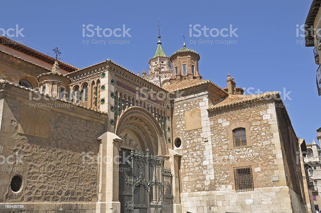 Teruel cathedral back door stock photo