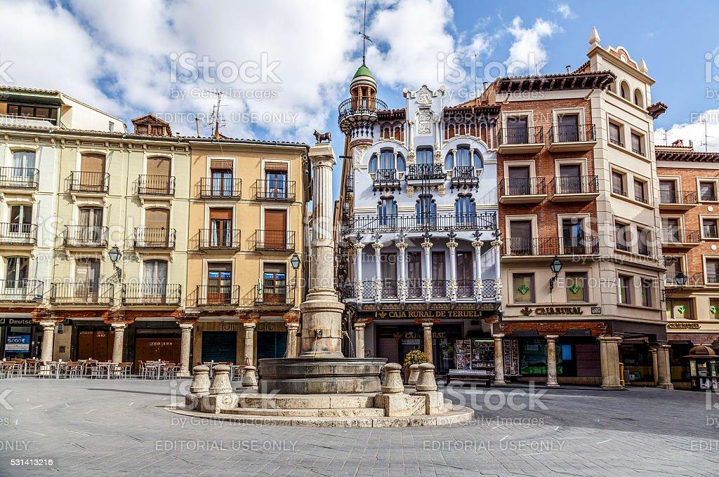 Teruel El Torico fountain in Plaza Carlos Castel square stock photo