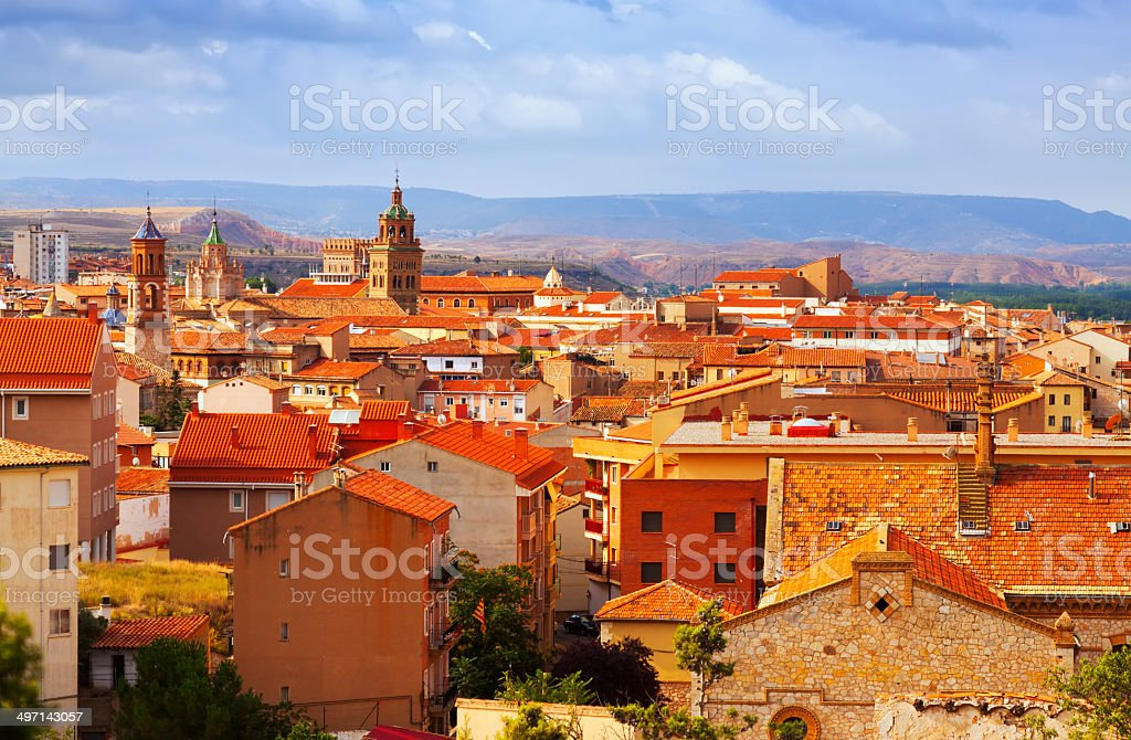 Teruel from hill in summer day stock photo