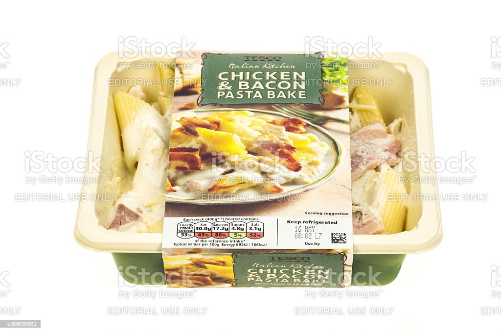 Tesco Chicken and Bacon pasta ready meal stock photo