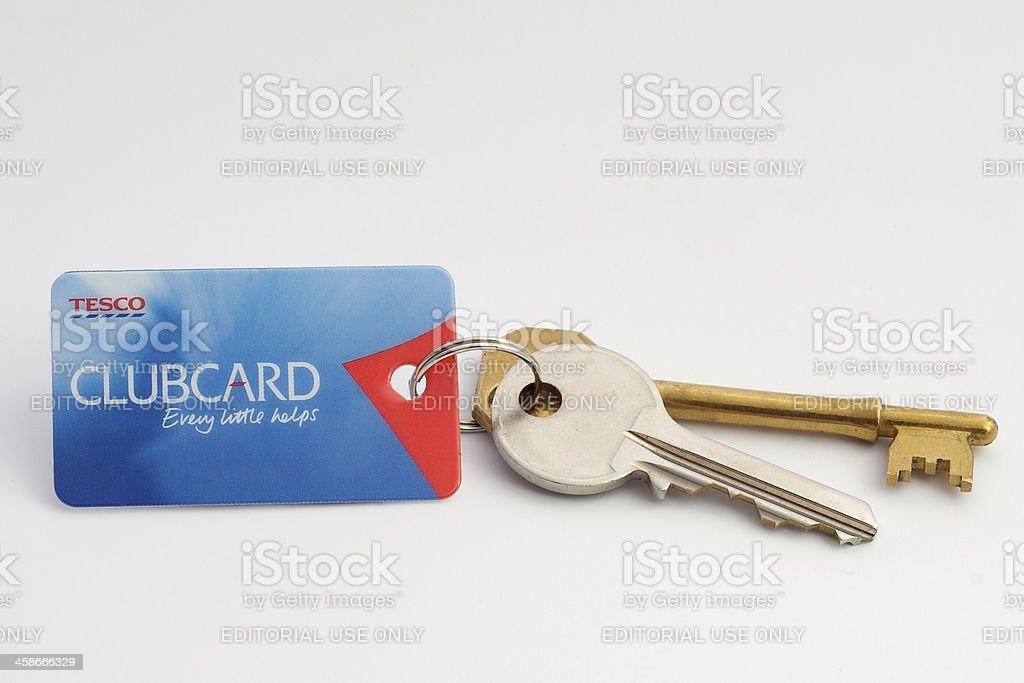 Tesco Clubcard and keys stock photo