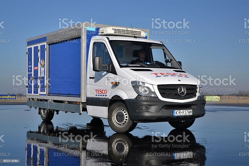 Tesco delivery van stock photo