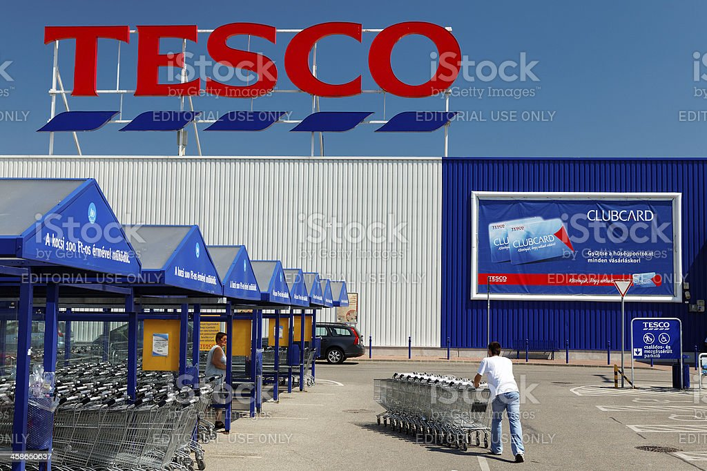 Tesco entrance with shopping carts. stock photo