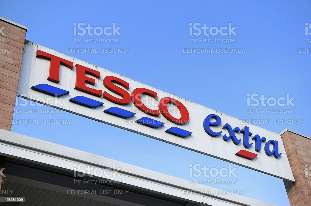 Tesco Extra Sign stock photo