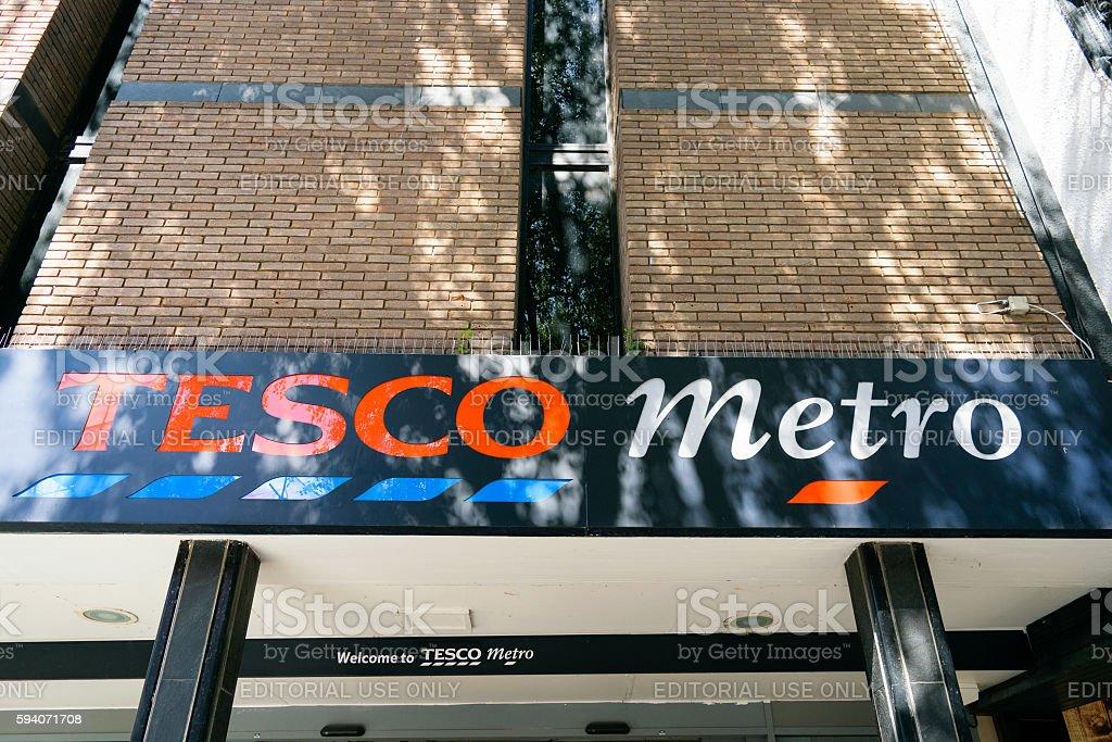 Tesco Metro sign stock photo