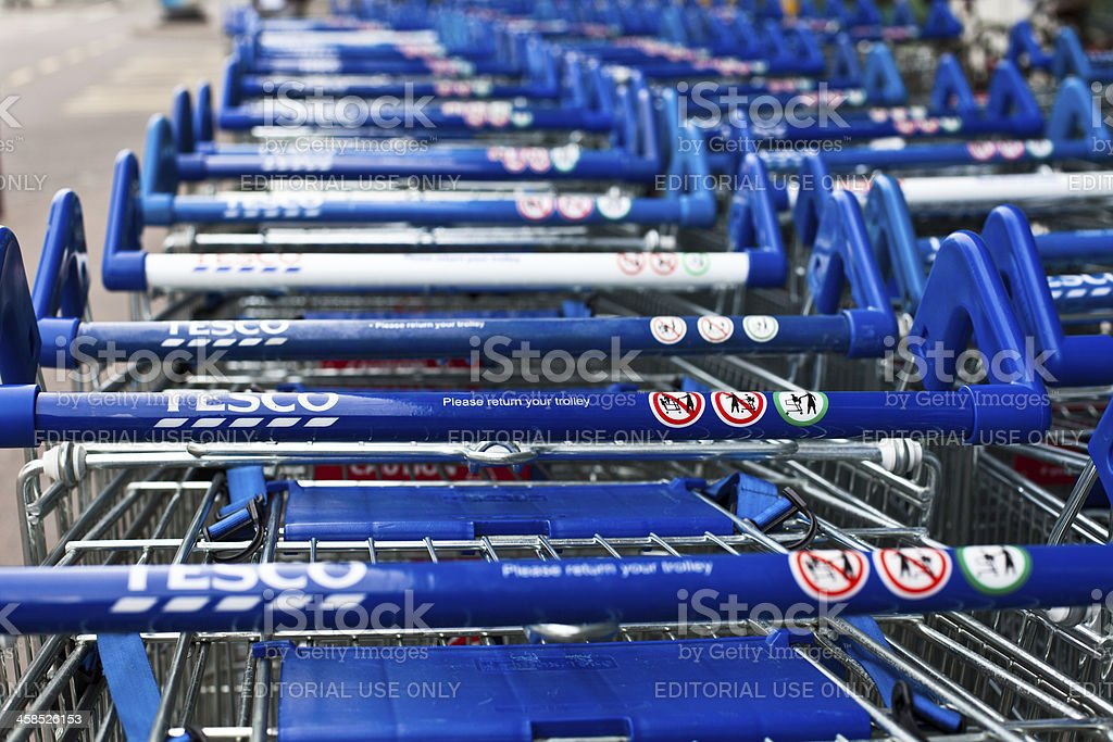 Tesco Shopping Carts stock photo
