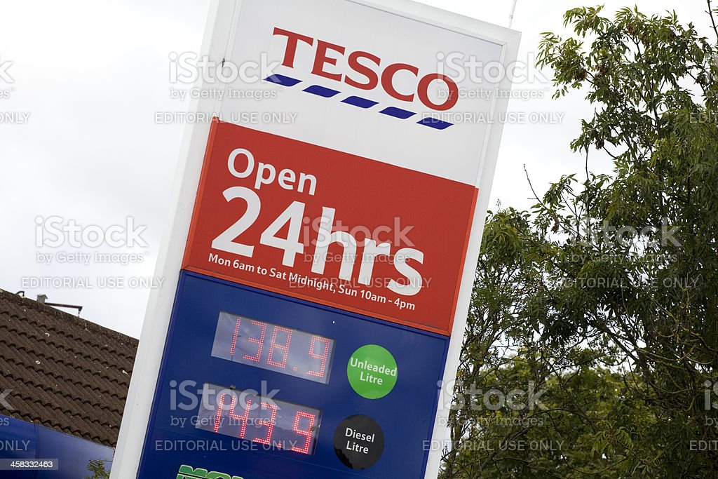 Tesco Supermarket Petrol Station Sign 24 Hours stock photo