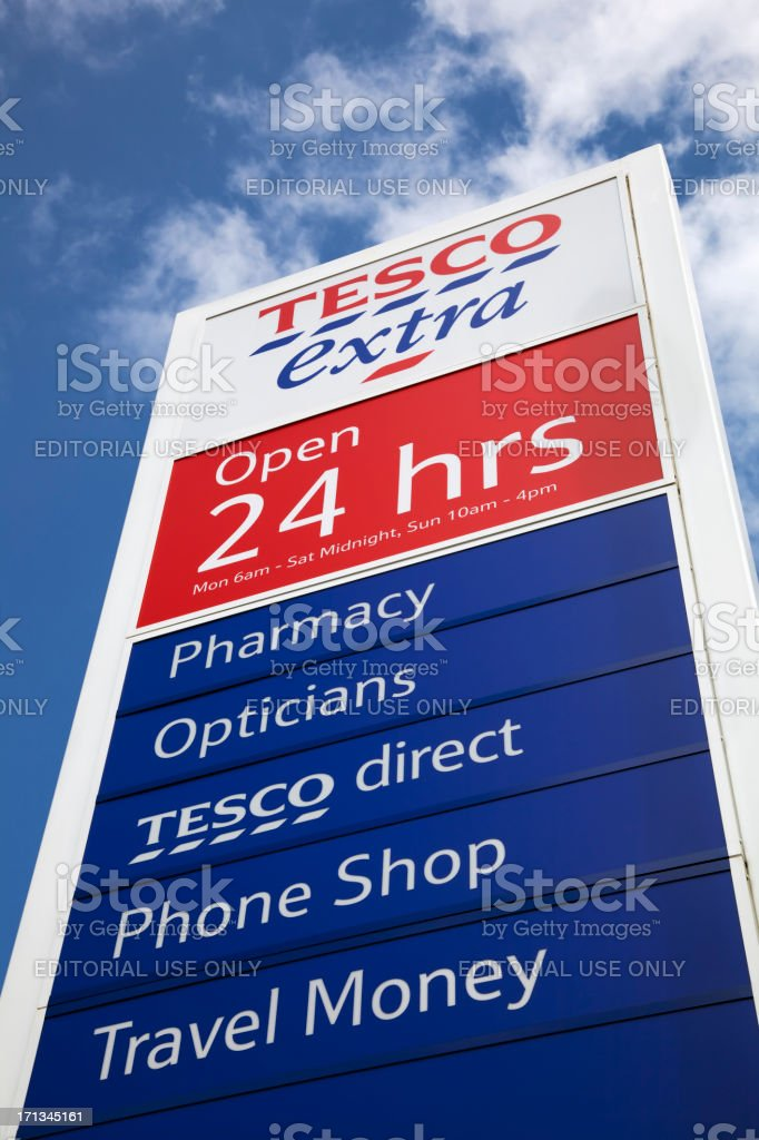 Tesco Supermarket sign and logo royalty-free stock photo
