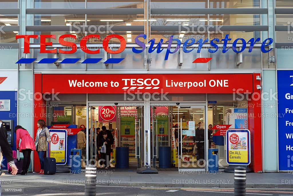 Tesco superstore supermarket in Liverpool One shopping mall stock photo
